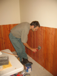 varnishing the wainscot